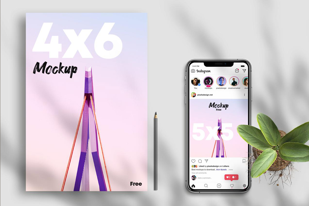 Free Flyer 4×6 w/ Instagram Post Mockup
