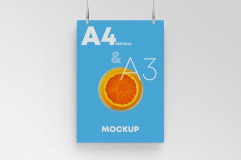 Free Hanging A3 Poster Mockup