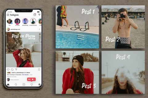 Free Instagram Grid Posts & iPhone XS Max Mockup