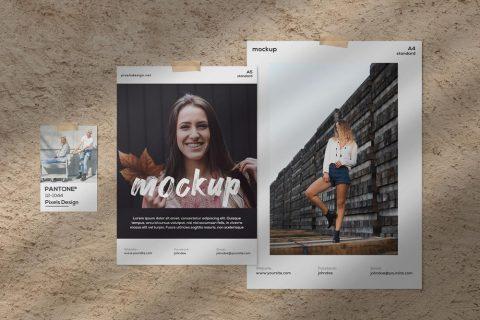 Free Moodboard Papers Kit Mockup