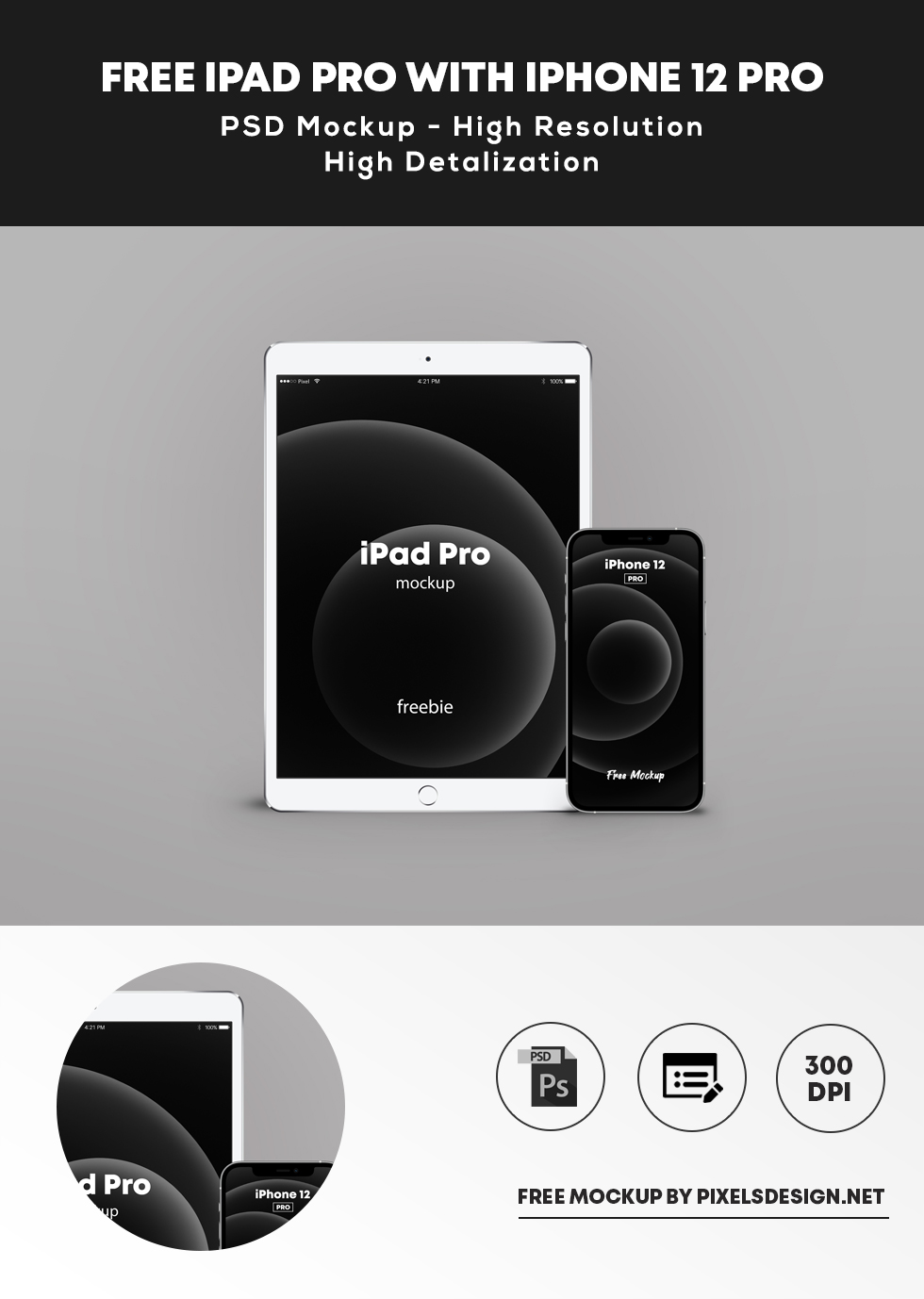 Free iPhone 12 Pro with iPad Pro Mockup
