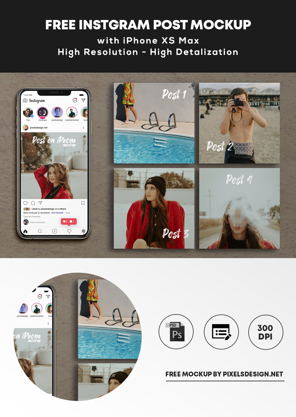 Free Instagram Grid Posts & iPhone XS Max Mockup