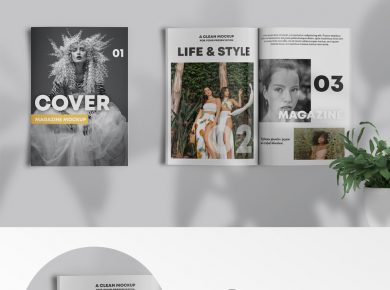 Free Magazine Showcase Mockup (PSD)
