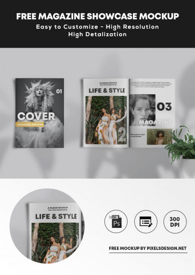 Free Magazine Showcase Mockup (PSD)