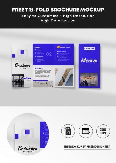 Free Tri-Fold Brochure Mockup (PSD)