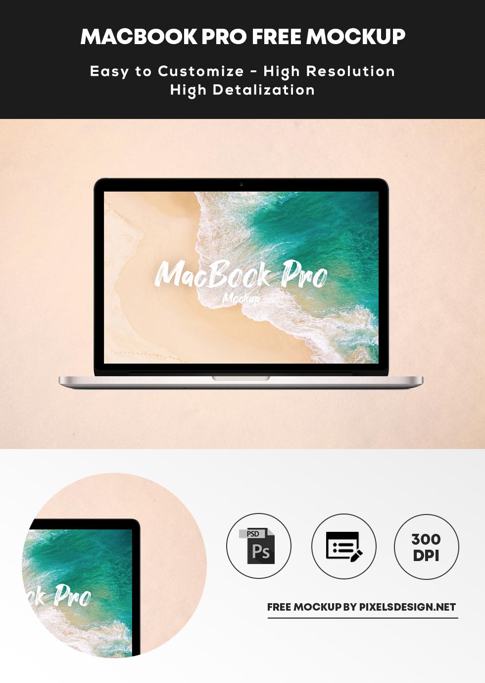 Free Minimalist Macbook Pro Mockup