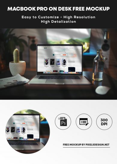 Free Macbook Pro on Desk Mockup