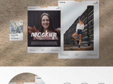 Free Moodboard Papers Kit Mockup