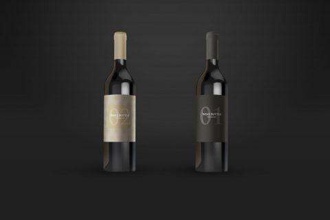 2 Wine Bottles Free Mockup