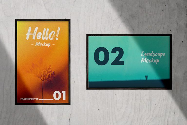 2 Poster Frames Mockup