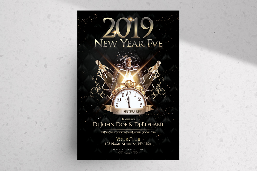 2019 NYE Eve – Black & Gold Free PSD Flyer Template