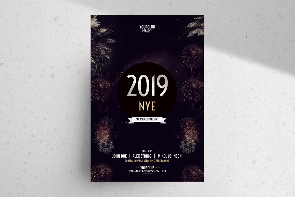 2019 NYE Free PSD Flyer Template