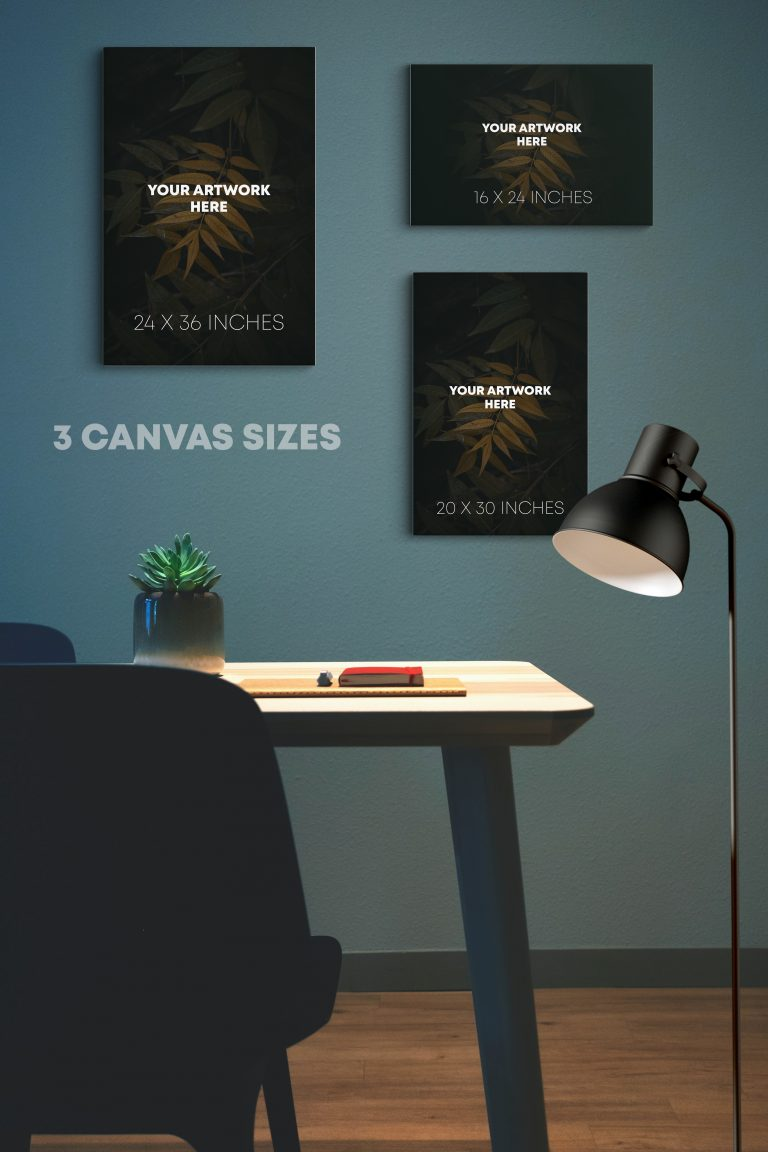 Canvas Posters Mockup (3 Sizes)