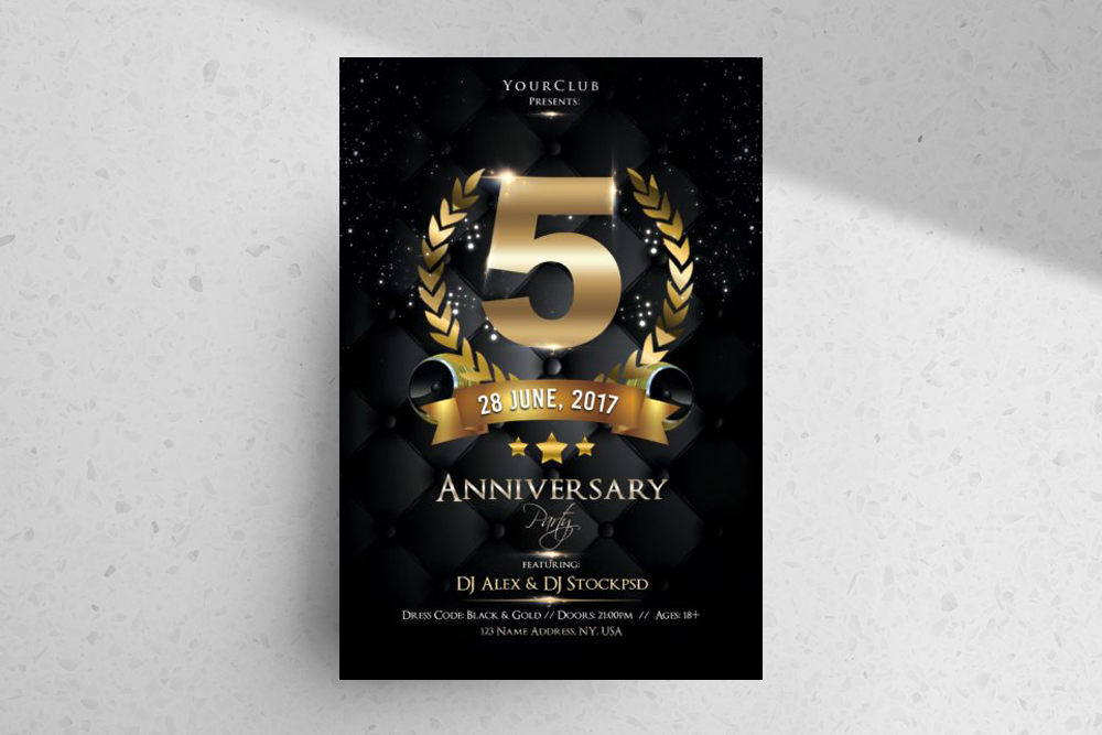 Anniversary Night – Free PSD Flyer Template