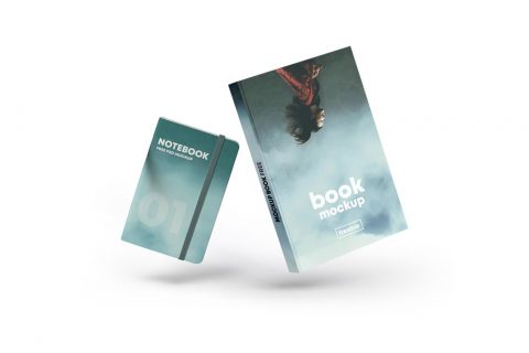 Floating Book Cover & Notebook Free Mockup