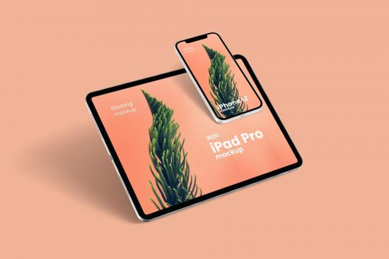 Floating iPhone 12 & iPad Pro Free Mockup