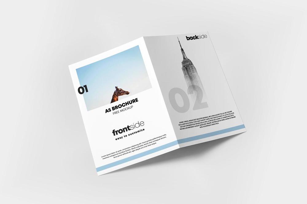 Free A5 Bi-Fold Brochure Cover Mockup