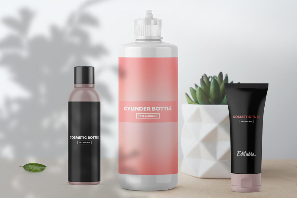 Free Cosmetic Bottles Packaging Mockup vol.2
