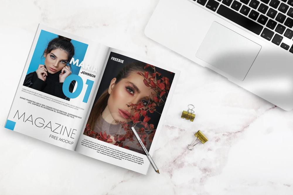 Free Open Magazine on Desk Mockup