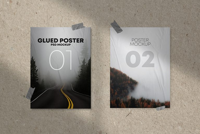 Glued Posters on Wall Mockup