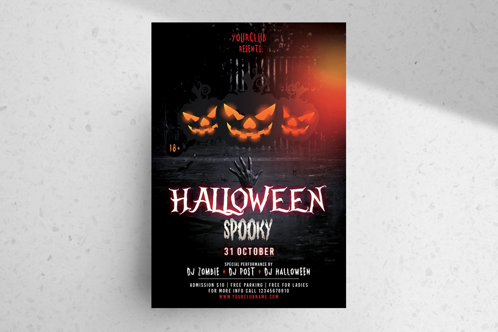 Halloween Spooky – Download Free PSD Flyer Template