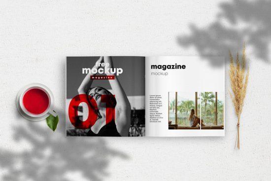 Opened Square Magazine Free Mockup