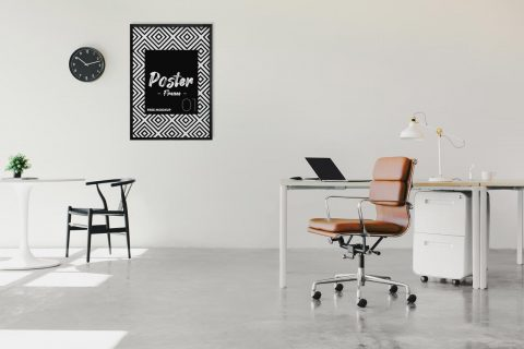 Poster Frame in Office Free Mockup