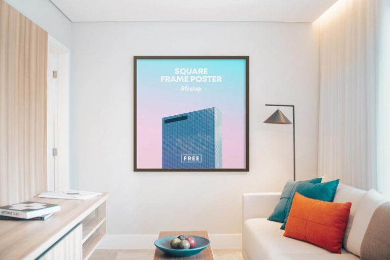Square Poster Frame on Room Free Mockup