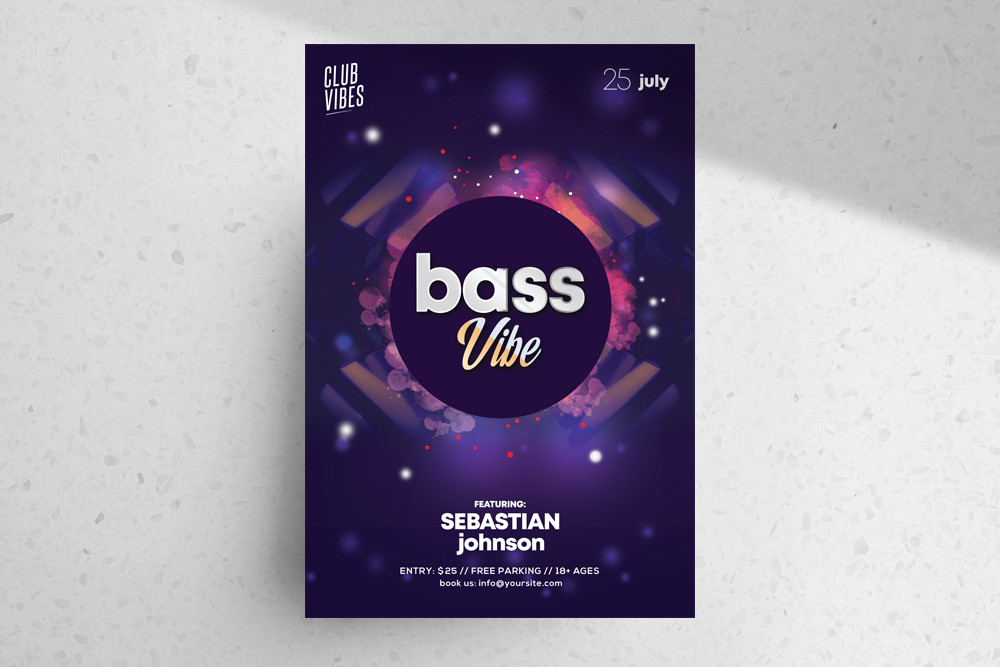 Bass Vibe – Free DJ PSD Flyer Template