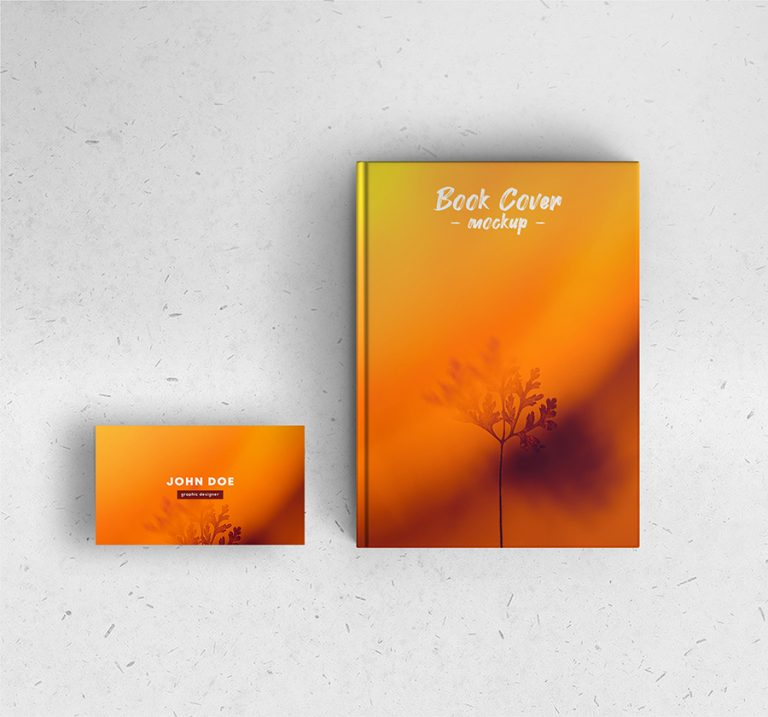 Book Cover with Business Card Mockup