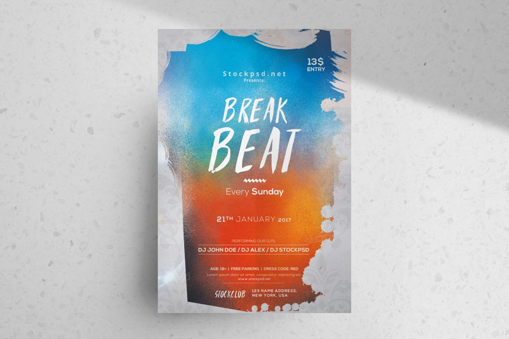 Break Beat – Download Free PSD Flyer Template