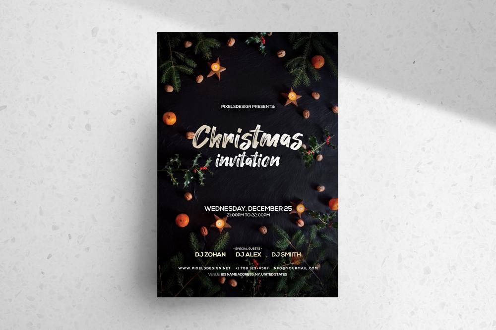 Christmas Invitation Freebie PSD Template