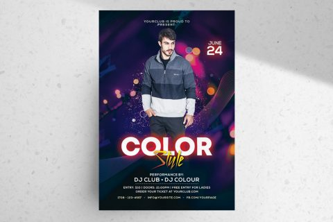 Color Style – Free Club PSD Flyer Template