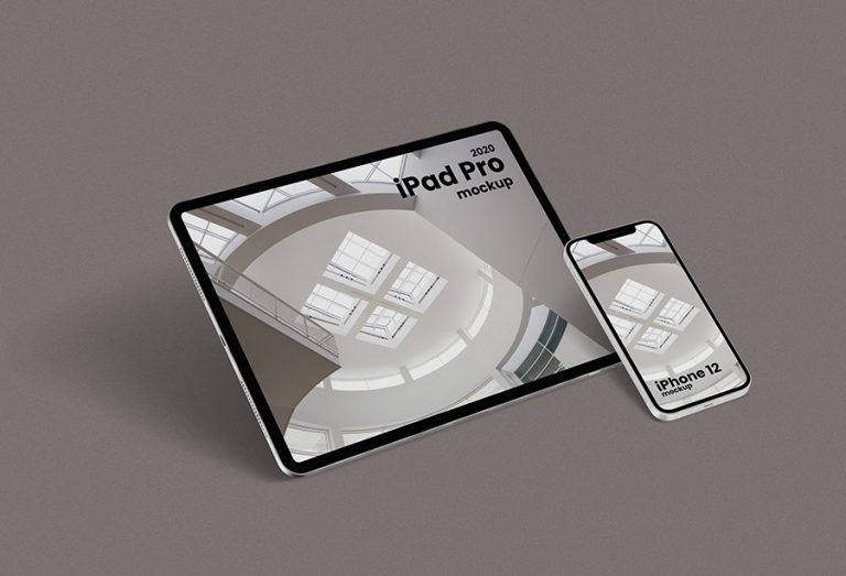 Floating iPhone 12 & iPad Pro Mockup