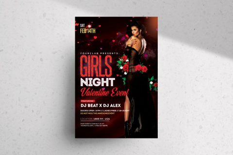 Girls Night – Valentine's Free PSD Flyer Template