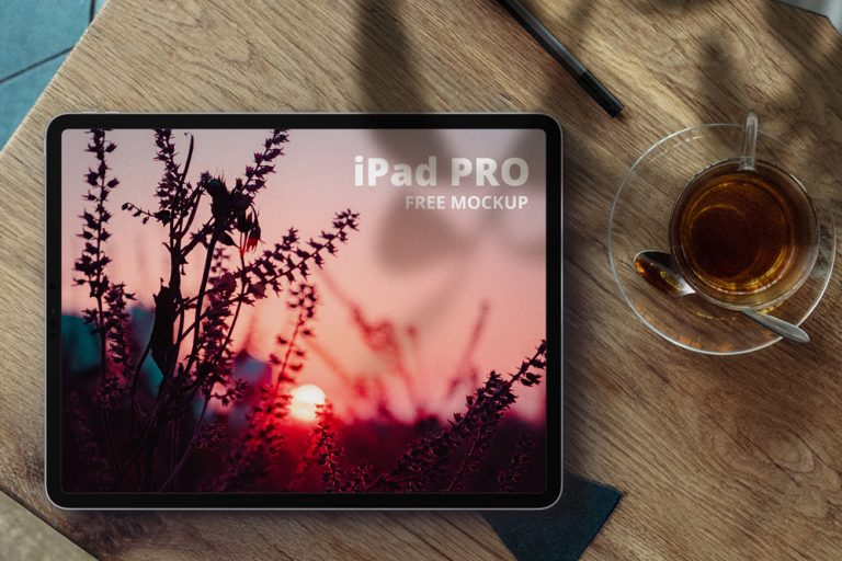 iPad Pro in Desk Free Mockup