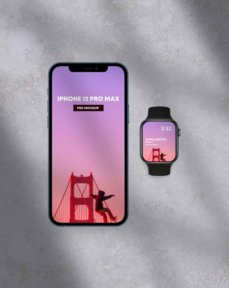 iPhone 12 PRO Max & Apple Watch 4 Mockup
