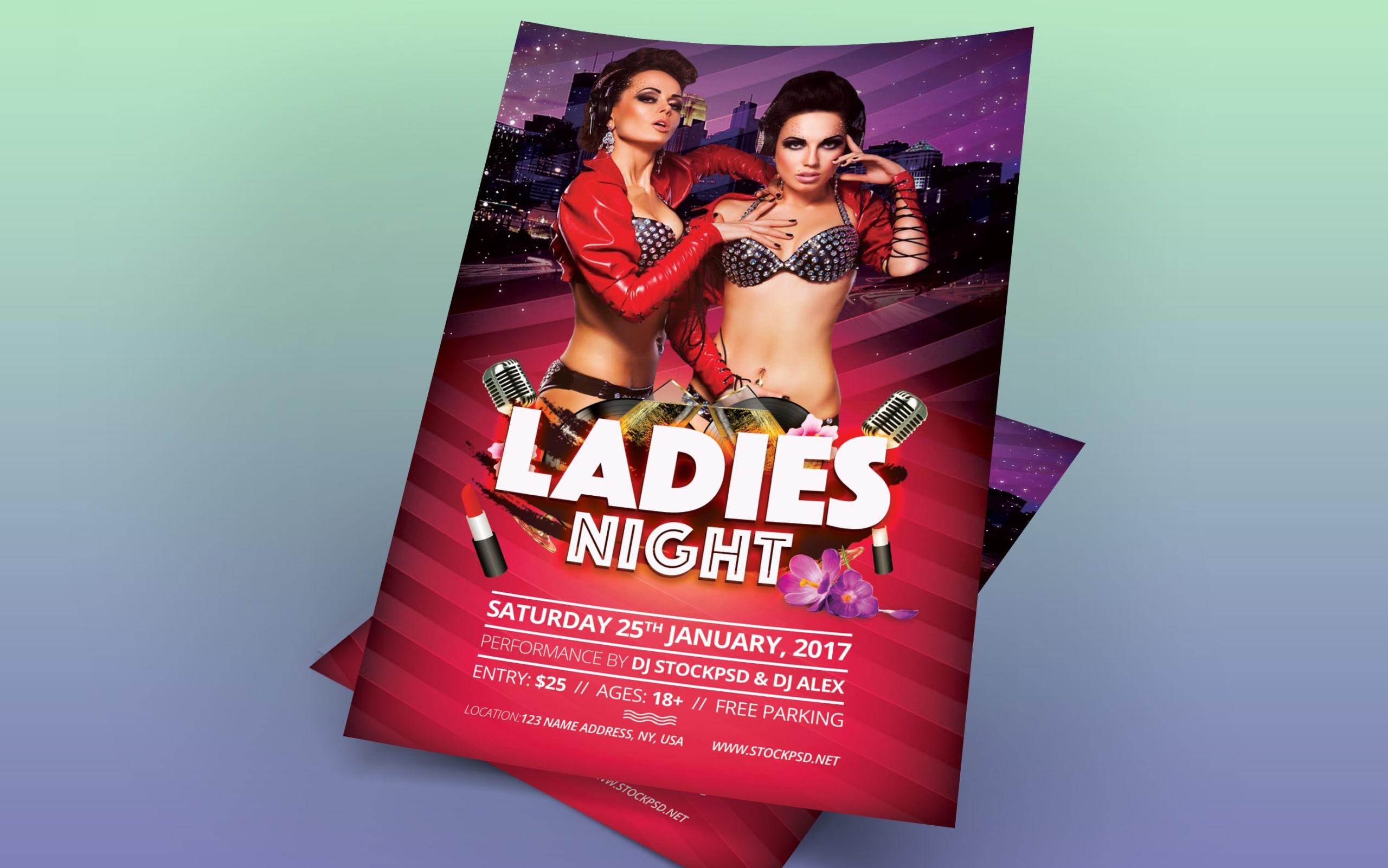 Ladies Night – Download Freebie PSD Flyer Template