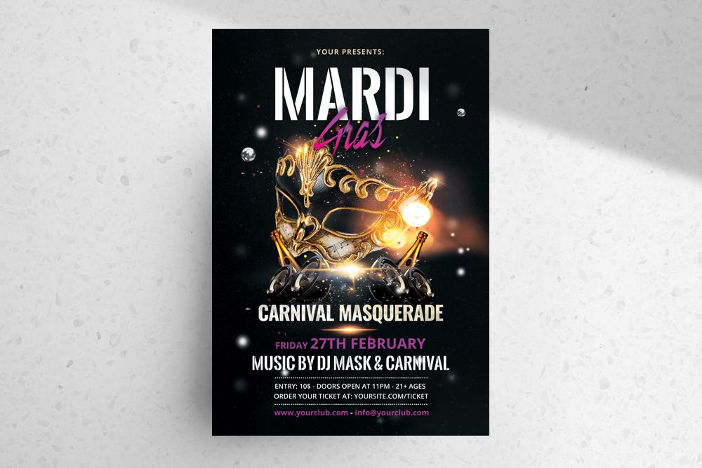 Mardi Gras Free Carnival PSD Flyer Template
