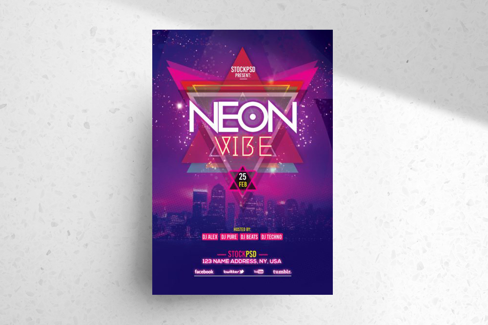 Neon Vibe – Download Free PSD Flyer Template