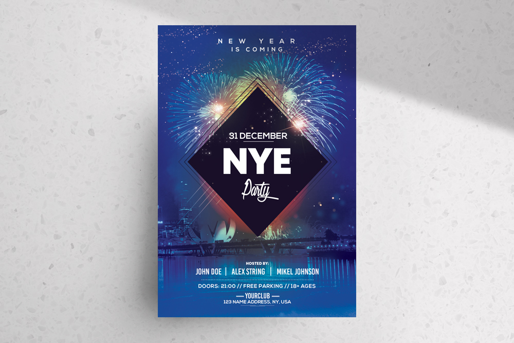 2019 NYE Party – Free New Year PSD Flyer