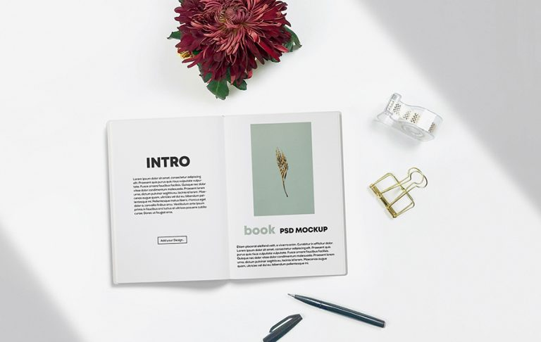 Opened Book on desk Mockup
