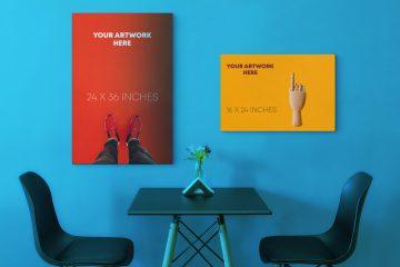 Canvas Poster Free Mockup