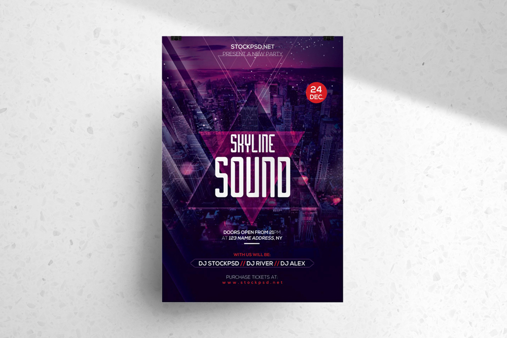 Skyline Sound – Download PSD Free Flyer Templates