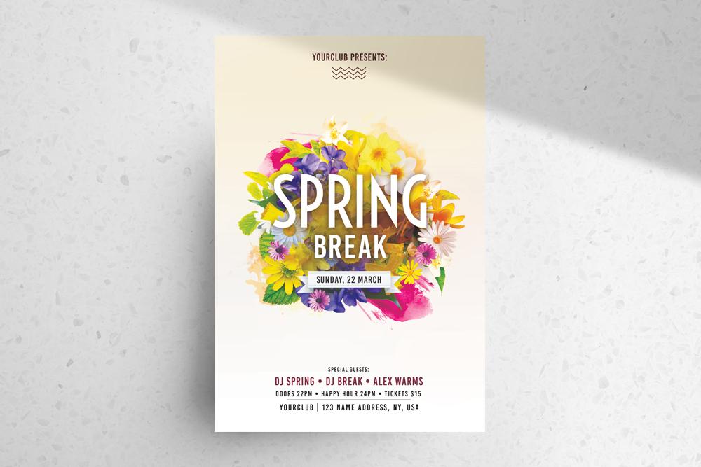 Spring Break PSD Free Flyer Template
