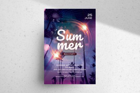 Summer Beach Party PSD Free Flyer Template