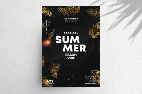 Summer Gold PSD Free Flyer Template