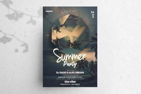 Summer Party PSD Free Flyer Template vol4