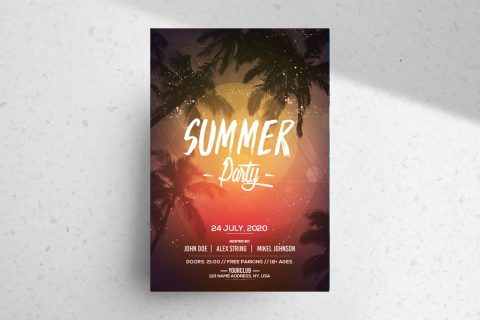 Summer Party Free PSD Flyer Template (Vol.2)