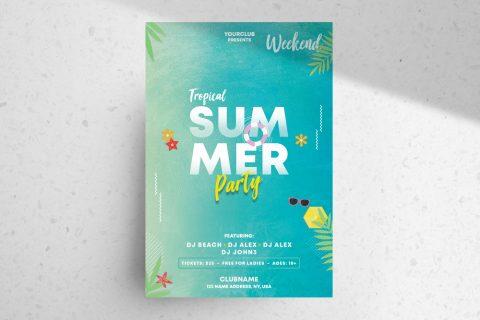 Summer & Tropical Free PSD Flyer Template